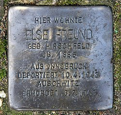 Photo of Else Freund brass plaque