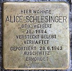 Photo of Alice Schlesinger brass plaque