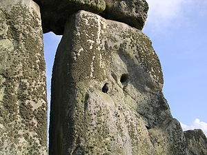 Stonehenge birds nesting in megalith cavity April 2005.jpg