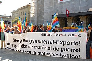 "Popular initiative (Switzerland) - Demonstration, in front of the Federal Palace of Switzerland, in support of the federal popular initiative ""for a ban on the export of military equipment"", in 2007. The votation was organised on 29 November 2009."