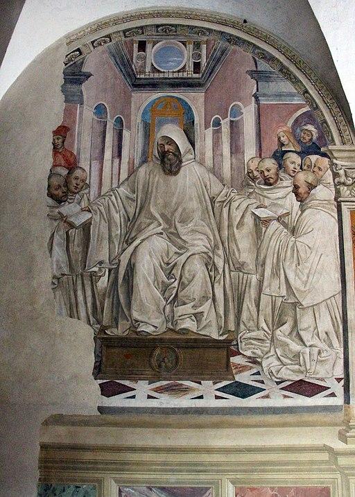 Abbazia di Monte Oliveto Maggiore, passaggio tra chiostro e chiesa. Il Sodoma, Benedetto che dà la regola ai fondatori di Monte Oliveto