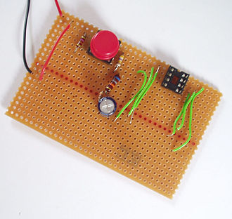Stripboard - An example of a populated stripboard