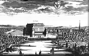 Örebro - Örebro circa 1700, in Suecia antiqua et hodierna, with the castle in the middle