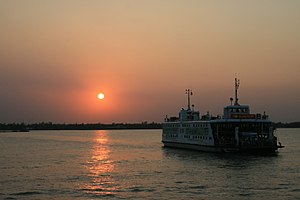 A sunset on the Mekong River.