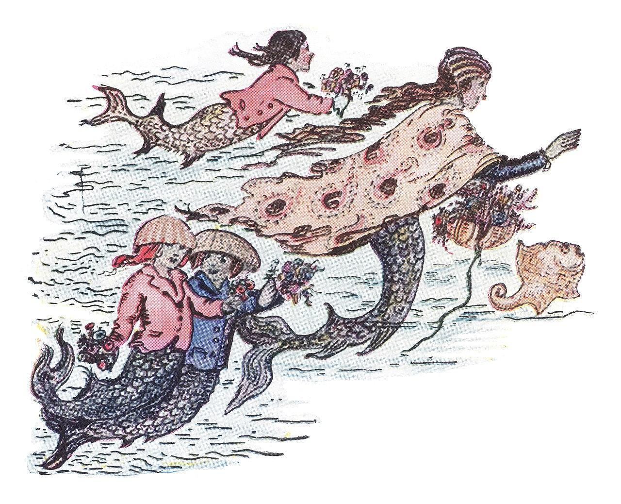 Illustration of mermaids
