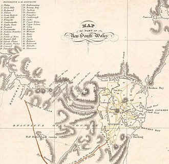County of Cumberland, New South Wales - Districts on an 1824 map