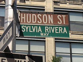 Sylvia Rivera - Street sign in New York City's Greenwich Village, named in Rivera's honor