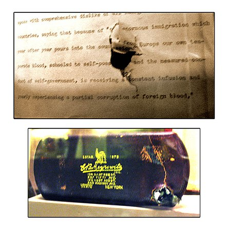 The bullet-damaged speech and eyeglass case on display at the Theodore Roosevelt Birthplace TR Assissination Bullet Damage.jpg