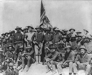 Overseas interventions of the United States - Colonel Theodore Roosevelt and the Rough Riders after capturing San Juan Hill