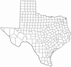 Location of Hooks, Texas
