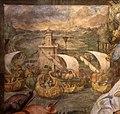 Taddeo zuccari, presa di tunisi, e federico zuccari, Enrico IV perdonato da papa Gregorio VII, 1564-80, 02 porto con faro, forse fiumicino.jpg