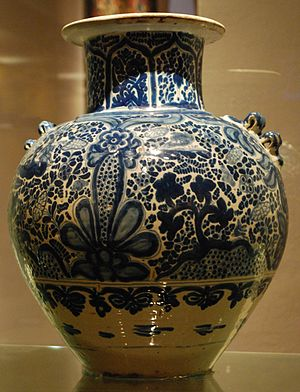 Handcrafts and folk art in Puebla - 19th century Talavera piece on display at the Franz Mayer Museum in Mexico City