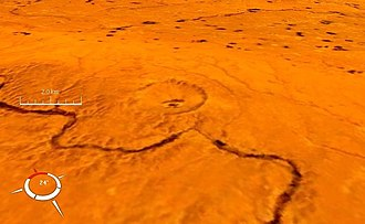 Talemzane crater - Oblique Landsat image of Talemzane crater draped over digital elevation model (x3 vertical exaggeration); screen capture from NASA World Wind