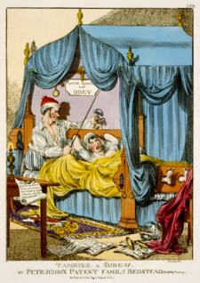 "'Williams' cartoon from Caricature magazine; ""Tameing a Shrew; or, Petruchio's Patent Family Bedstead, Gags & Thumscrews"" (1815). Tameing a Shrew; or, Petruchio's Patent Family Bedstead, Gags & Thumscrews.png"