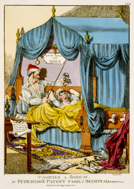 Satirical print from Tegg's Caricature Magazine (1815). Tameing a Shrew; or, Petruchio's Patent Family Bedstead, Gags & Thumscrews.png