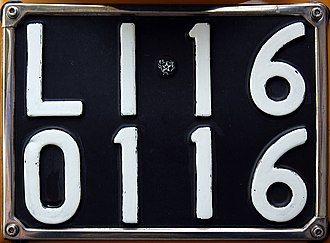 Vehicle registration plates of Italy - Italian vehicle rear number plate used from 1951 to 1976, LI is the provincial code of Livorno.
