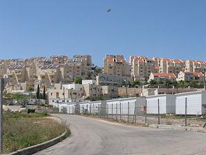 Caravan (Israel) - School in caravanim (lower right) on the perimeter of Tel Zion, a Haredi settlement in the West Bank.