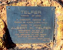 Plaque at Telfer