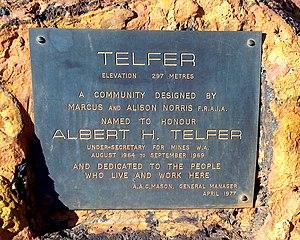 Telfer, Western Australia - Plaque at Telfer, Western Australia