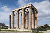 Corinthian: The Temple of Olympian Zeus in Athens, started in the 6th century BC and finished in the in the 2nd century AD