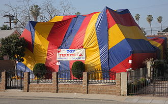 "Fumigation - A residential property in Los Angeles, subject to tent fumigation or ""tenting""."
