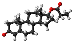 Testosterone propionate molecule ball.png