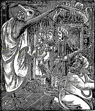 Ghosts in Bengali culture - The depiction of a Rakkhoshi (a female demonic being) at the courthouse of the king. This is taken from children's classic Bengali folk-lore collection Thakurmar Jhuli (1907) by Dakshinaranjan Mitra Majumder