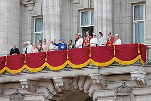 British royal family - Royal family on the balcony of Buckingham Palace after the annual Trooping the Colour in 2013.