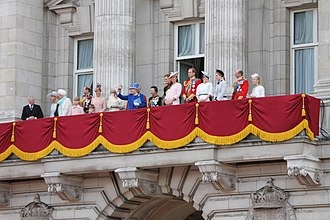 House of Windsor - Members of the House of Windsor on the balcony of Buckingham Palace, 15 June 2013. Left to right: Prince Richard, Duke of Gloucester; Lady Rose Gilman; Prince Michael of Kent; Princess Michael of Kent; Lady Louise Windsor; Prince Edward, Earl of Wessex; James, Viscount Severn; Sophie, Countess of Wessex; Camilla, Duchess of Cornwall; Prince Charles, Prince of Wales; Queen Elizabeth II; Princess Anne, Princess Royal; Prince Andrew, Duke of York; Prince Harry, Duke of Sussex; Catherine, Duchess of Cambridge; Prince William, Duke of Cambridge; Princess Eugenie of York; Princess Beatrice of York; Prince Edward, Duke of Kent; Katharine, Duchess of Kent