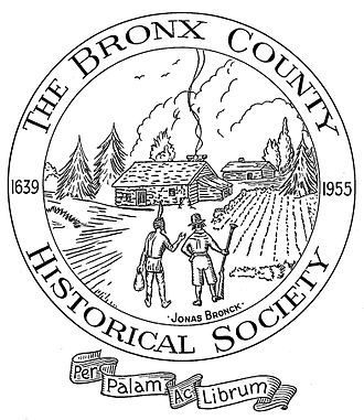 "The Bronx County Historical Society - The seal depicts Jonas Bronck and a Native American surveying the Bronck farm ""Emmaus"" in 1639."