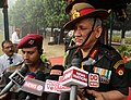 The Chief of Army Staff and President Gorkha Brigade, General Bipin Rawat interacting with the media at War Memorial in 39 Gorkha Training Centre, during 9 GR Bicentenary Celebrations, in Varanasi on November 10, 2017.jpg