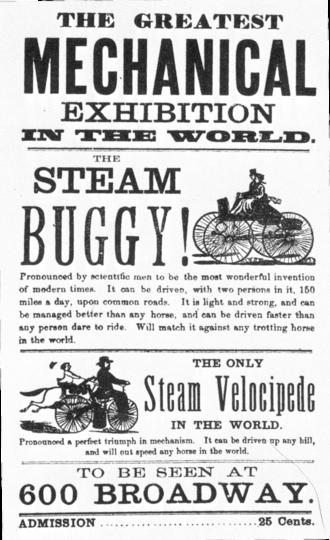 Roper steam velocipede - Image: The Greatest Mechanical Exhibition in the World. Roper steam handbill
