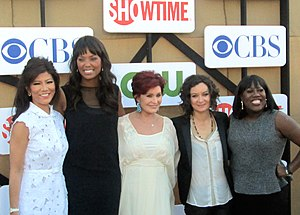 Julie Chen - The Talk co-hosts Julie Chen, Aisha Tyler, Sharon Osbourne, show creator Sara Gilbert and Sheryl Underwood in 2012.
