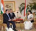 The Leader of Opposition in Lok Sabha, Smt. Sushma Swaraj calls on the President of the Republic of Tajikistan, Mr. Emomali Rahmon, in New Delhi on September 03, 2012.jpg