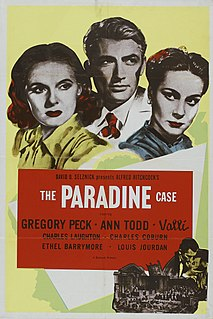 <i>The Paradine Case</i> 1947 American courtroom drama film, set in England directed by Alfred Hitchcock