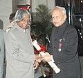 The President, Dr. A.P.J. Abdul Kalam presenting the Padma Vibhushan Award – 2006 to Shri Colathur Rama Krishnaswamy Rao Sahib, a distinguished bureaucrat, in New Delhi on March 20, 2006.jpg