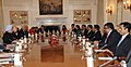 The Prime Minister, Dr. Manmohan Singh and the President of the Republic of Maldives, Mr. Abdulla Yameen Abdul Gayoom, at the delegation level talks, in New Delhi on January 02, 2014.jpg
