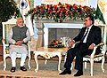 The Prime Minister, Shri Narendra Modi's tete-a-tete with the President of Tajikistan, Mr. Emomali Rahmon, in Dushanbe, Tajikistan on July 13, 2015 (1).jpg