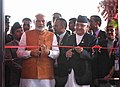 The Prime Minister, Shri Narendra Modi and the Prime Minister of Nepal, Shri K.P. Sharma Oli jointly inaugurate the Pashupati Nath Dharamshala at Tilganga, in Kathmandu, Nepal on August 31, 2018.JPG
