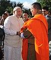 The Prime Minister, Shri Narendra Modi being received by the Prime Minister of Bhutan, Mr. Lyonchhen Tshering Tobgay, in Thimphu, Bhutan on June 15, 2014.jpg