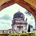 The Qutub Shahi tomb as viewed from the Hamam Khana(Bath house), located near Golconda Fort, Hyderabad.jpg