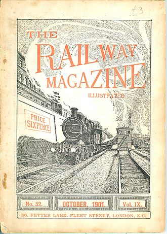 The Railway Magazine - Cover of the October 1901 issue. Typical for early 20th century: only the colours, issue number, date and volume changed from month to month