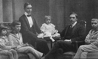 Prince Xavier of Bourbon-Parma - The six sons of Duke Robert I of Parma and his second wife Infant Maria Antonia of Portugal. From Left to right: Luigi, Rene, Xavier, baby Gaetano, Sixtus and Felix of Bourbon-Parma.