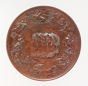 A bronze medal of considerable complexity, with a series of allegorical figures surrounding the central busts of four men, the victorious generals at Waterloo