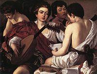 O alaúde aparece, proeminente, entre os cantores e músicos deste quadro de Caravaggio, Os músicos.