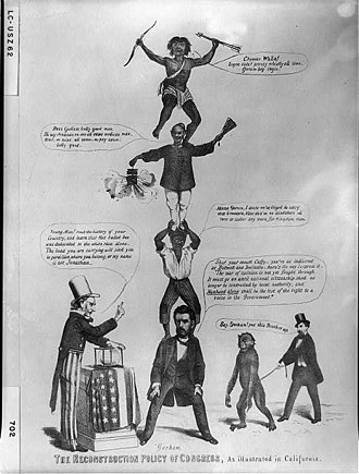 Henry Huntly Haight - Satirizes California Republican gubernatorial nominee George C. Gorham and idea that Africans, Asians, and Indians should have voting rights. Used by Democratic Party to gain office.