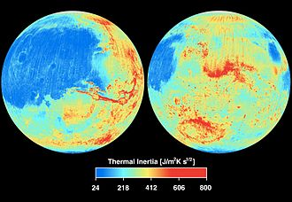 Martian surface - Global thermal inertia based on data from Thermal Emission Spectrometer (TES) on Mars Global Surveyor spacecraft. (NASA/JPL)