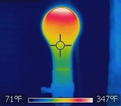 Thermal image of an incandescent light