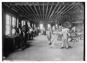 Thomas-Morse Aircraft - Thomas Brothers Aeroplane Company factory floor in Ithaca, New York in 1915