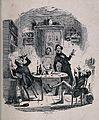 Three drunken men carousing round a kitchen table. Etching, Wellcome V0019563.jpg